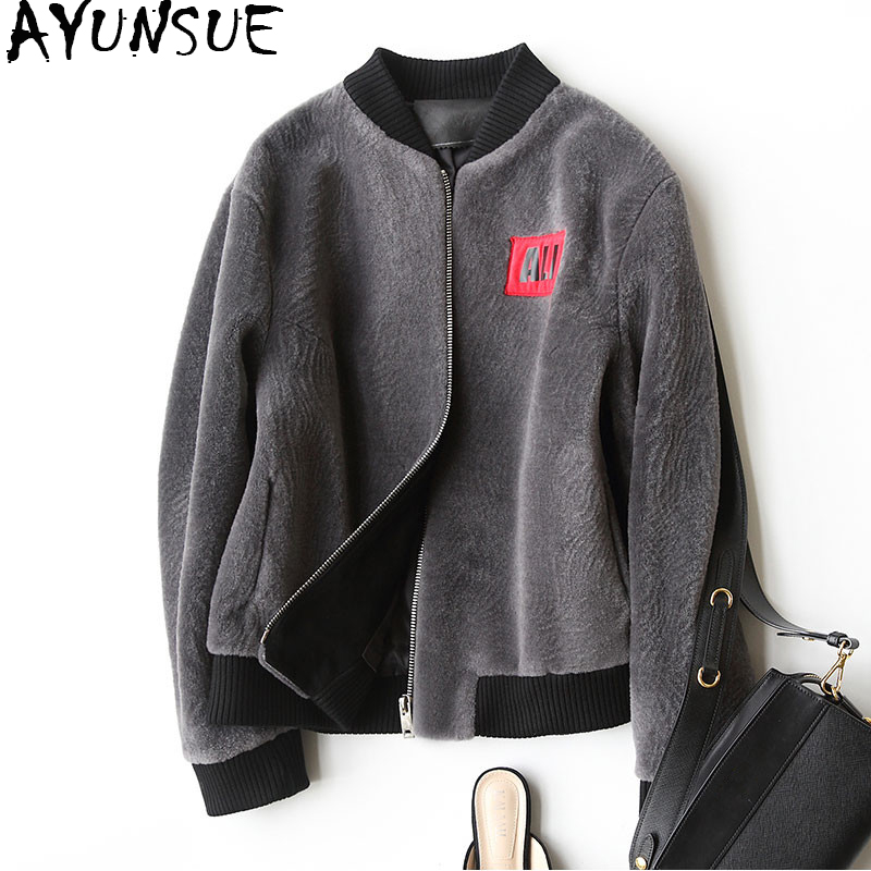 AYUNSUE 2019 Real Fur Coat Winter Autumn Women's Jacket Natural Sheep Shearing Fur Coats Short Baseball Jackets For Women 17156