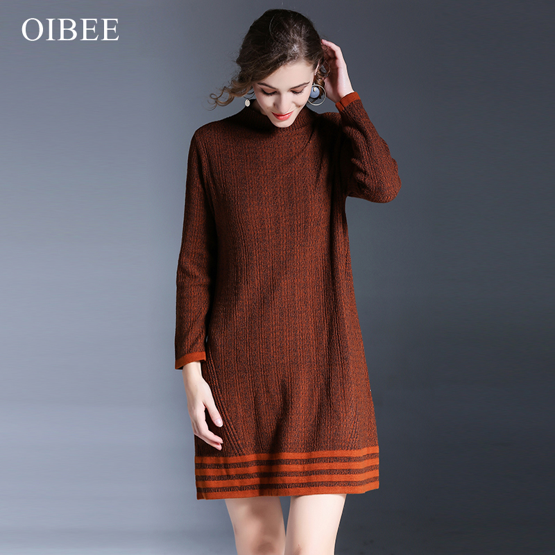 OIBEE новый поворот женщин длинный свитер платье 2017 зима сексуальный тонкий bodycon платья эластичный тощий сплит платье Краткое платье ве