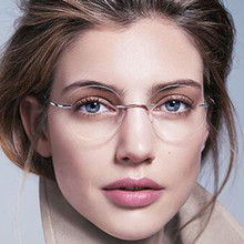 Eyesilove ultra-light rimless Optical frame men women Titanium Rimless glasses F