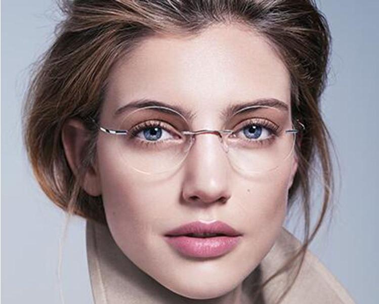 Eyesilove Ultra-light Rimless Optical Frame Men Women Titanium Rimless Glasses Frame Round Eyewear For Prescription Eyeglasses