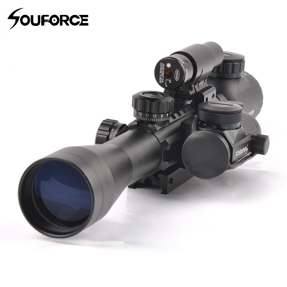 3-9X40EG Illuminated Tactical Rifle Scope with Red Laser & Holographic Dot Sight For Airsoft Hunting fma tactical an peq 15 battery box laser red dot laser with white led flashlight and ir lens military airsoft hunting device