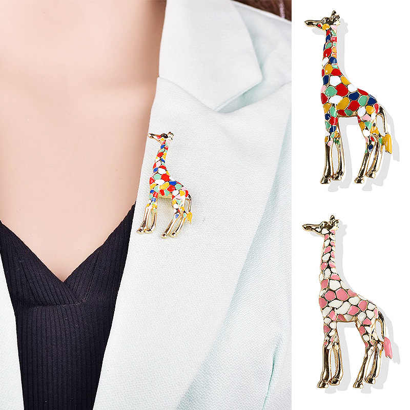 LNRRABC 1PC Enamel Giraffe Brooches for Women Cute Animal Brooch Pin Fashion Jewelry Gold Color Gift For Kids Exquisite Broches