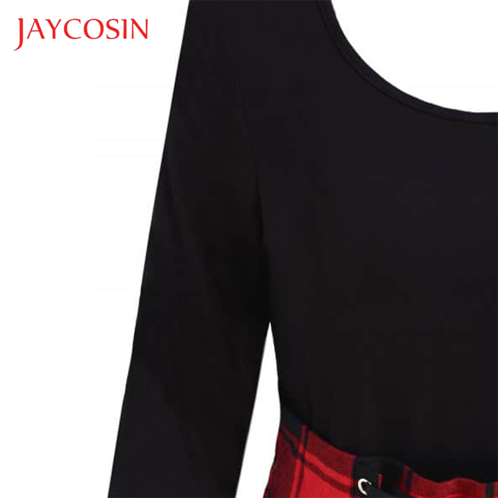 JAYCOSIN O Neck Fashion Casual Lace Up Tartan Plaid Print Asymmetrical Women Mini Dress Paired With JAYCOSIN O-Neck Fashion Casual  Lace Up Tartan Plaid Print Asymmetrical Women  Mini Dress Paired With Necklaces  Scarves  Hats