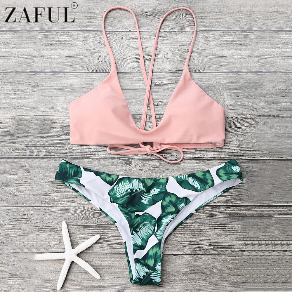 Zaful Cami Bralette Foglia di Palma Stampa Vita Bassa Bikini Push Up Donne Costumi Da Bagno Estate Spiaggia Bikini Brasiliano Sexy Biquini