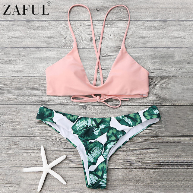 a3508fbd1147b Zaful Cami Bralette Palm Leaf Print Low Waist Bikini Set Push Up Swimwear  Women Summer Beach