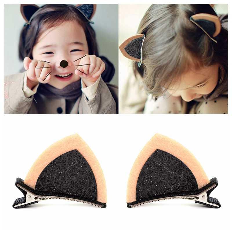 2 шт./лот милый кот уха с зажимом волос заколки для детей девушки шпильки аксессуары для волос новорожденных детские, для малышей контакты Головные уборы