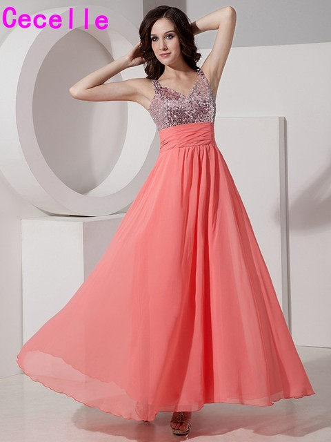 Inexpensive Coral Long A-line V Neck Bridesmaid Dresses Gowns with Straps  For Women Sequins 242560ab82e2