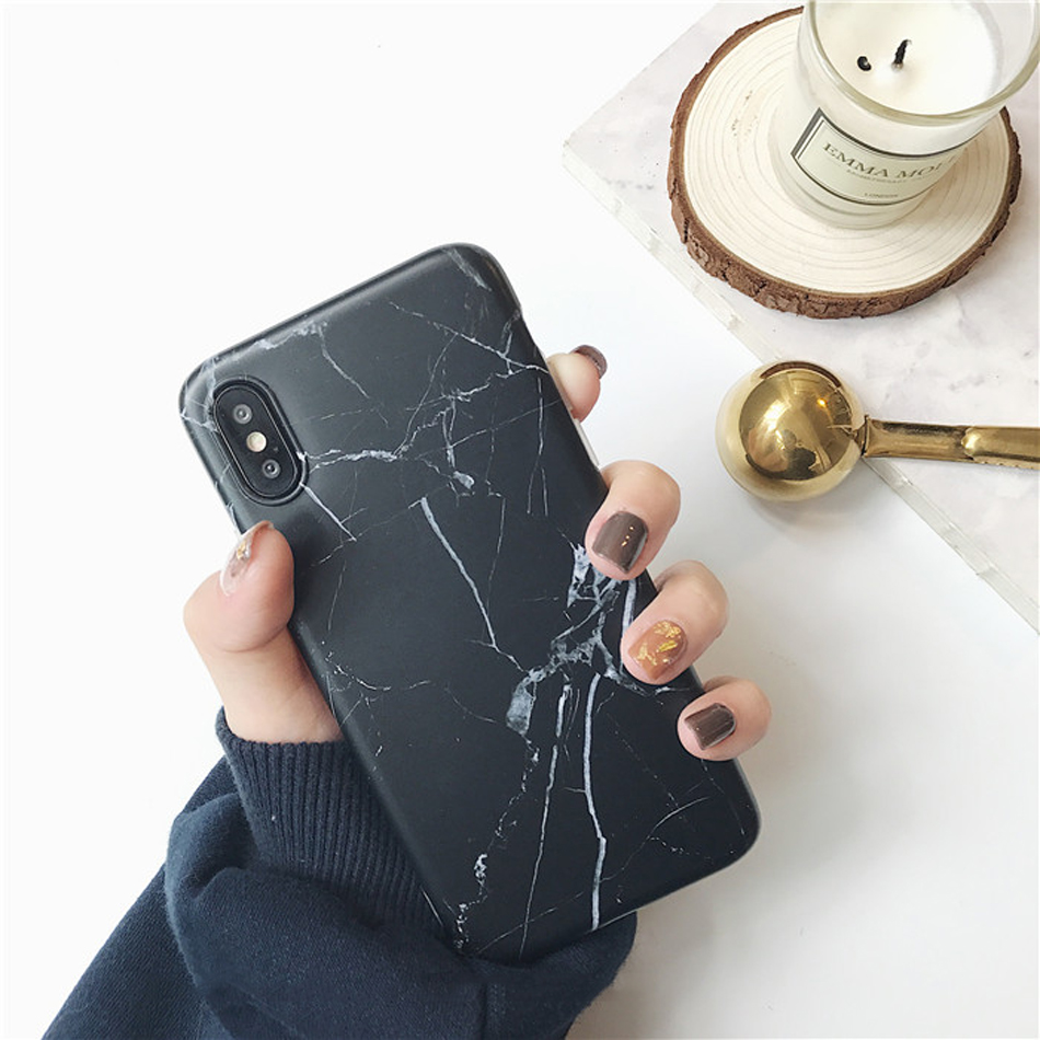 Moskado Shell Phone Case With Glossy Granite Marble Stone Cover For iPhone 11 Pro X XS Max XR 13