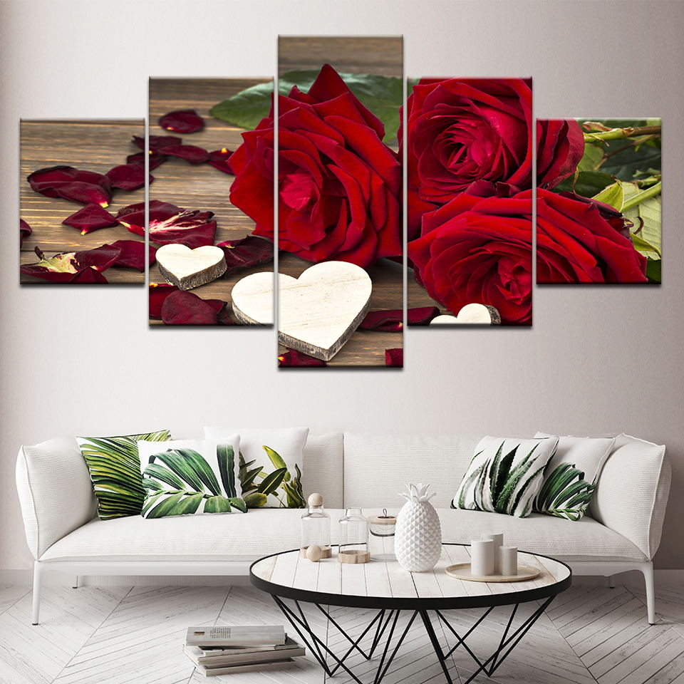 Art Painting Poster Classic Prints Modular 5 Panel Pictures Beautiful Flower Plant Office Wall