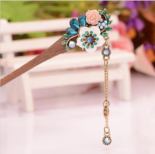 muylinda Shell Flower Wooden Hairpin Sticks Crystal Rhinestone Hair - Mote smykker - Bilde 3