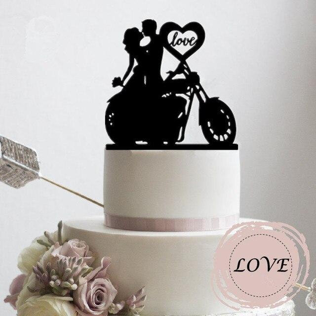 Aliexpress Com Motorrad Paar Hochzeitstorte Topper Mit Liebe Herz