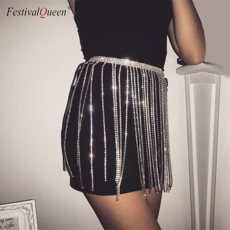 FestivalQueen sexy crystal studded tassel metal mini skirt women glitter  rhinestone high waist chain party skirt clubwear 2018-in Skirts from Women s  ... 05a9608f50a8