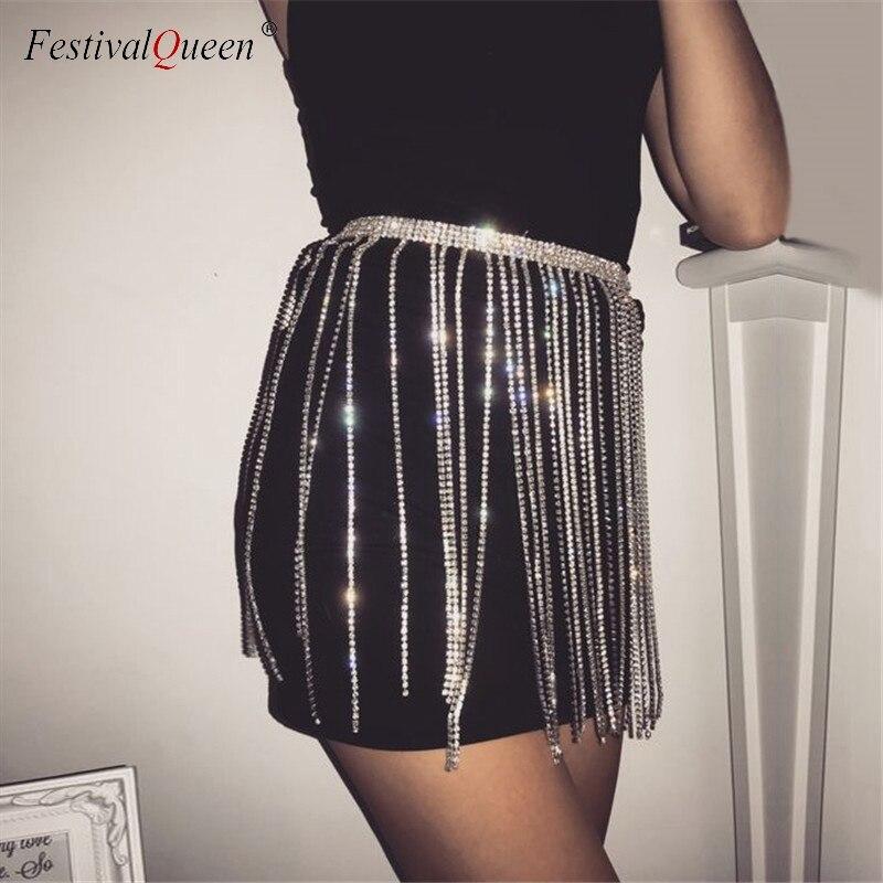 FestivalQueen Sexy Crystal Studded Tassel Metal Mini Skirt Women Glitter Rhinestone High Waist Chain Party Skirt Clubwear 2018