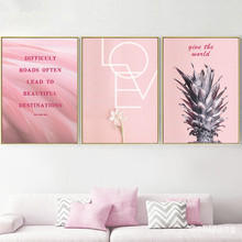 Gohipang Pink Pineapple Flower Motivational Quote Wall Art Canvas Painting Nordic Posters And Prints Pictures Living Room