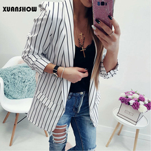 XUANSHOW Autumn Women Suit 2018 Work Fashion Turn-Down Collar Long Sleeve Open Stitch Women's Jackets Striped Office Female Top