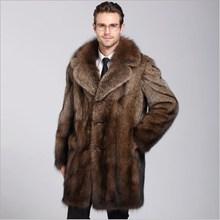L-4XL зимнее роскошное пальто из искусственного меха норки, свободное роскошное длинное пальто из искусственного меха, верхняя одежда из искусственного меха, толстое теплое Мужское пальто из искусственного меха FW121