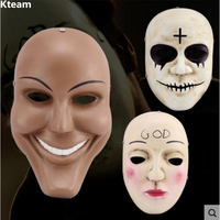 Hot The Purge Full Face Resin Mask Terror Film Human Clear Plan God Cross Masks Halloween Masquerade Party Cosplay Costume Props