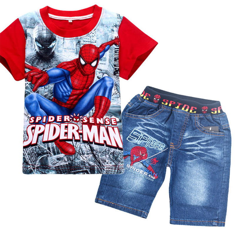 Clothing-Sets Shorts-Set Jeans Shirt Spiderman Toddler Boys Kids Children Summer Fashion