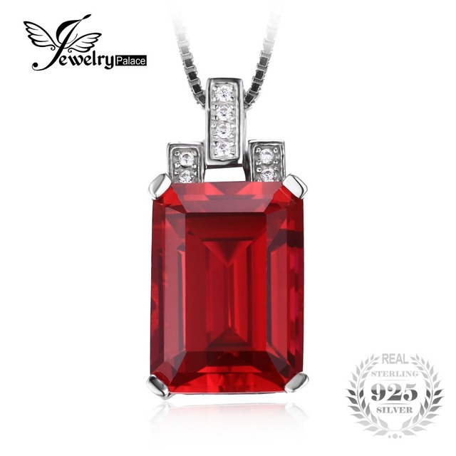 JewelryPalace Luxury Emerald Cut 9.5ct Created Red Ruby 925 Sterling Silver Pendant For Women Gemstone Jewelry Without a Chain