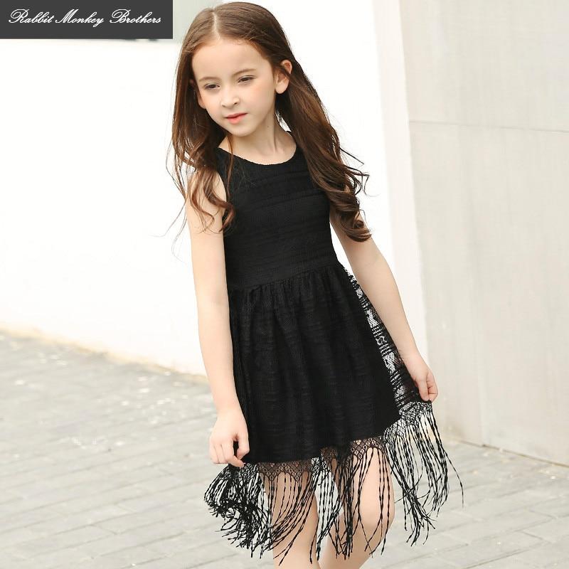 RMBkids Kids' Black Summer Dress Girls' European and American Style Casual tassel Princess Vest dress for  5 6 10 15 Teen girl клей пена монтажная makrofix полиуретановая для блоков 750 мл