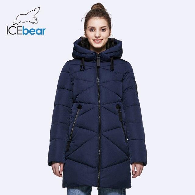 ICEbear 2018 женские Пальто и пуховики Мужские парки зимние средней длины зимняя водолазка с капюшоном планка Теплые универсальные Однотонные куртки 17G650D
