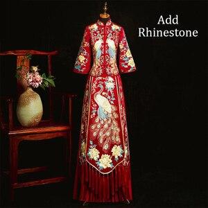 Image 3 - Voeg Strass Suzhou Embrpidery Qipao Vrouwen Bruid Trouwjurk Prachtige Klassieke Oude Huwelijk Pak Lange Vintage Knop
