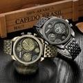 Negro Oro Individualidad Gran Reloj de Hombre de la Marca de Lujo de Cuarzo Relojes de Pulsera Reloj de Acero Llena Militar Reloj Hombre montre homme