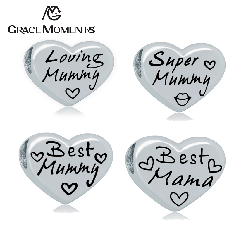 5Pcs/Lot GRACE MOMENTS Stainless Steel Heart LOVING SUPER BEST MUMMY MAMA Big Hole Spacer Beads For Bracelet Jewelry DIY Making