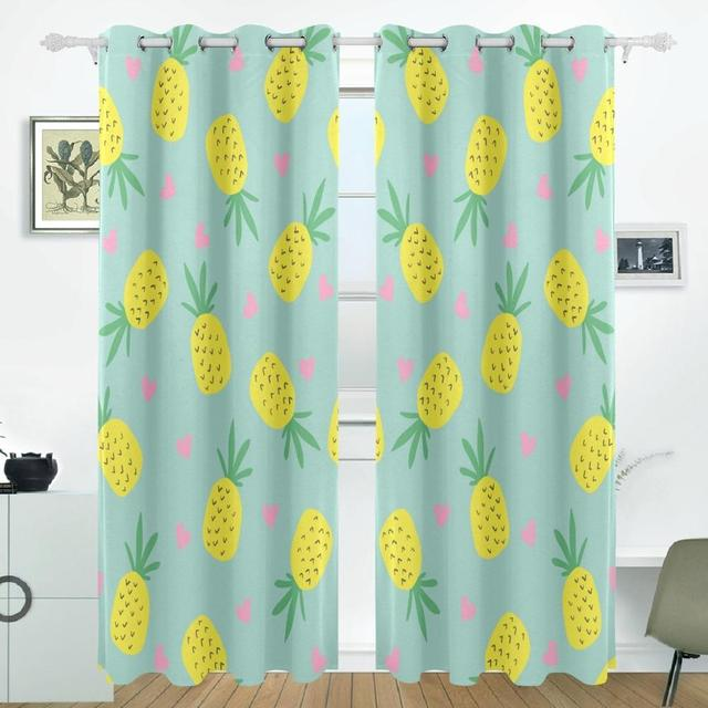 Good Pineapple Curtains Drapes Panels Darkening Blackout Grommet Room Divider  For Patio Window Sliding Glass Door 55x84