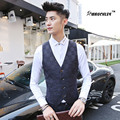 Mauchley Mens Suits Vests Classic Plaid Pattern Slim Fit Wedding Party Formal Dress Vests Boys Prom Vestidos Black Navy 2017 New