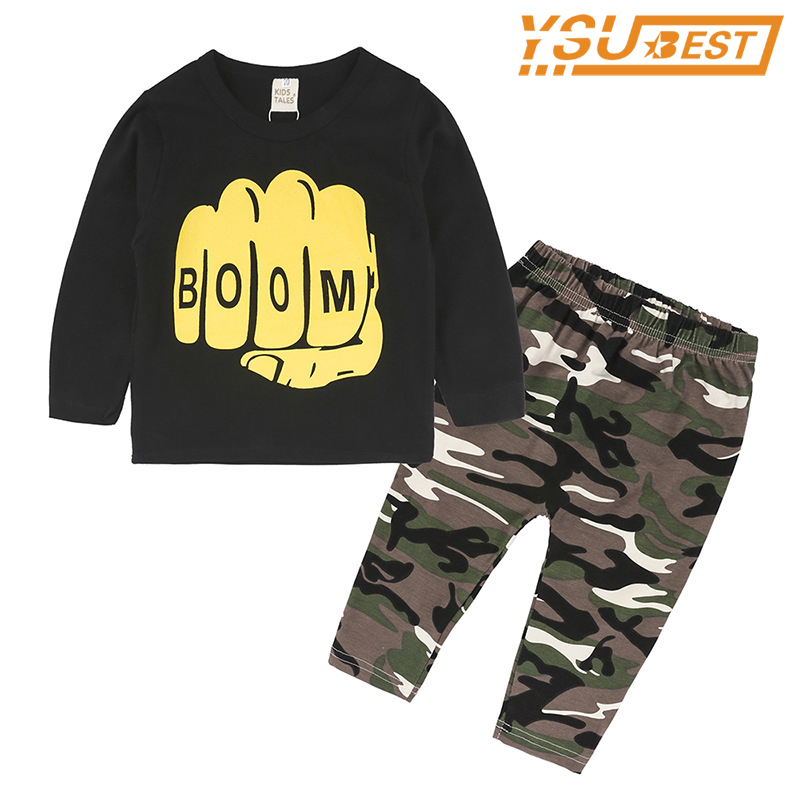 Brand Cotton Children Clothing Sets Fashion Long Sleeve T shirts + Camouflage Pants 2pcs/lot Boys Clothes 2018 Spring Kids Suits boys cotton clothes sets for children summer outfit kids camouflage t shirts