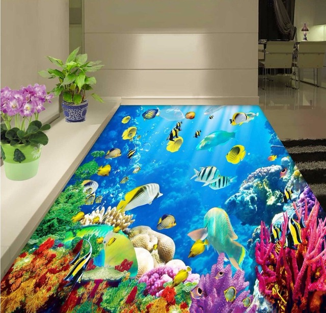 free shipping 3d underwater world coral sea floor wallpaper restaurant cafe living room non slip - Underwater World Restaurant