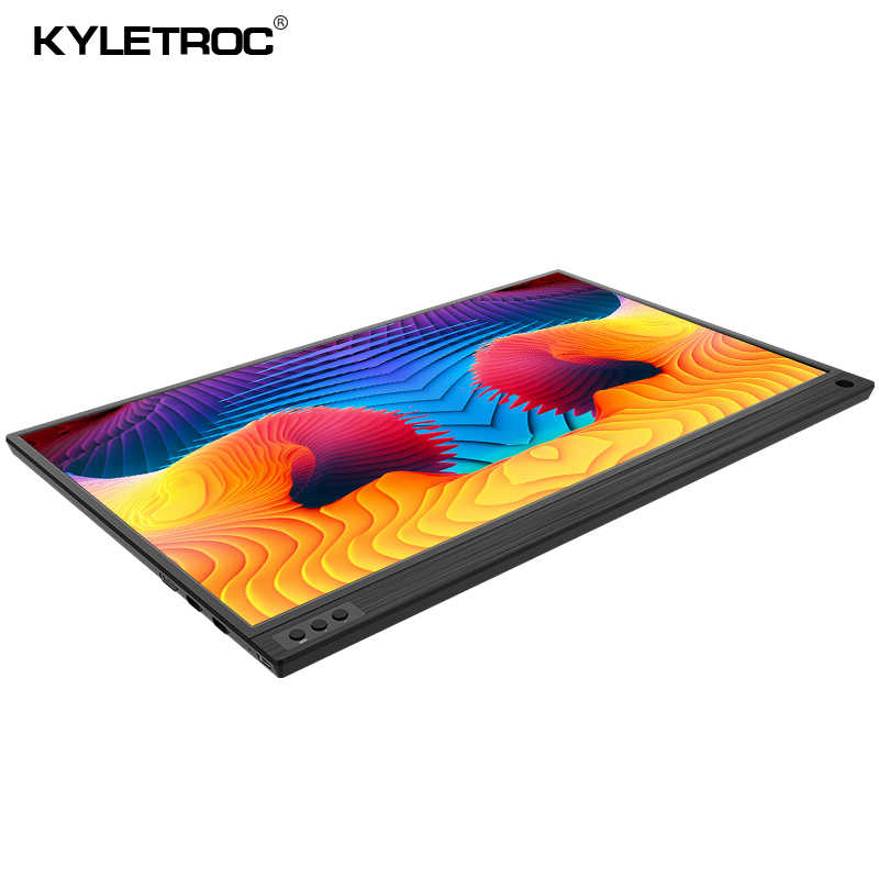 KYLETROC 15.6 polegada Display HDMI Monitor Portátil 1920x1080 HD IPS LED Monitor de Computador com Estojo De Couro para PS4 pro/Xbox/Telefone