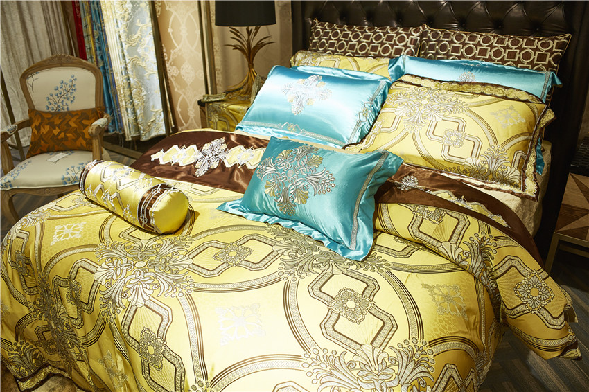10Pcs Luxury Satin Royal Bedding set Golden color Queen King size Duvet Bed cover Bed/Flat sheet Bed spread set Pillowcase 1