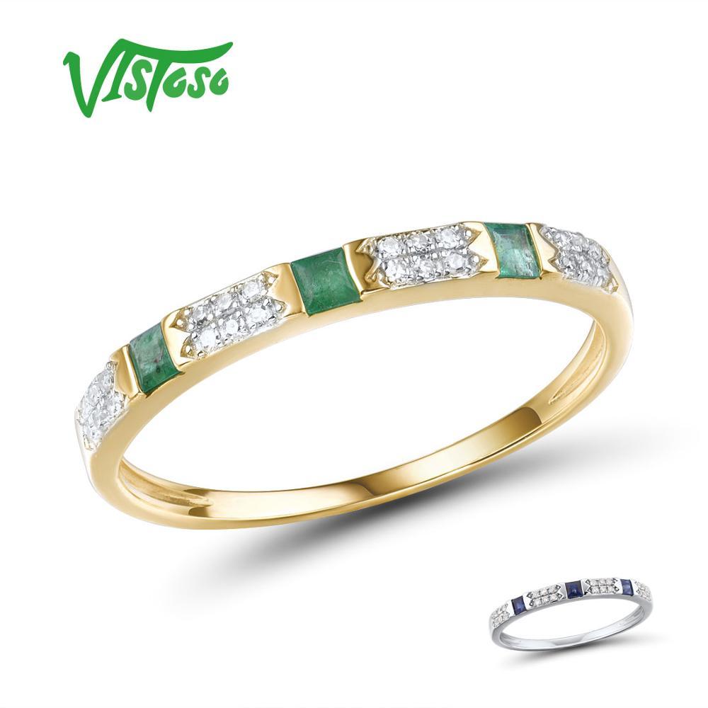VISTOSO 14K Y/W Gold Rings For Women Genuine Shiny Diamond Fancy Blue Sapphire Emerald Engagement Anniversary Chic Fine Jewelry