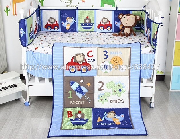Ups Free New Blue Cars Airplane Printed Baby Boy Crib Cot Bedding Set Bed Linen