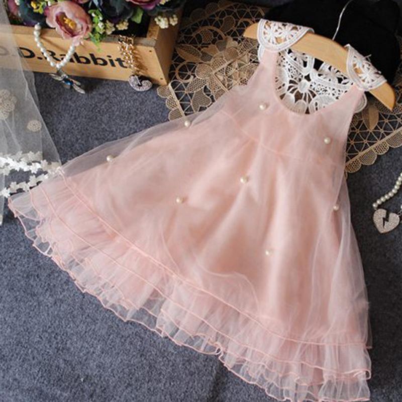 Розовое платье для девочек Летний стиль без рукавов детская платье принцессы цветок кружевная одежда для детей 2 3 4 5 6 7 8 лет Одежда для малыш...