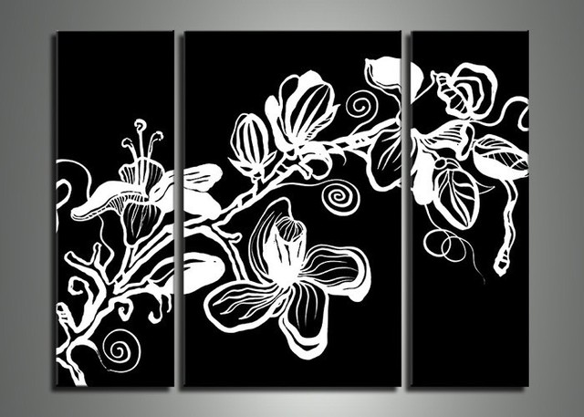 Handpainted 3 piece hitam putih modern abstrak wall art minyak lukisan on canvas bunga gambar hadiah