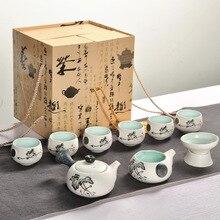 купить Chinese Style Kung Fu Tea Set Chinese Pattern Include White Glazed Teaware Sets Ceramic Porcelain 6pcs Tea Cups And Teapot дешево