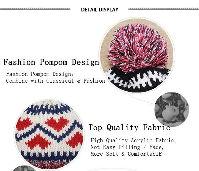 Acrylic Knitted Pattern Women Men Beanie Hat with Pom Pom (9)