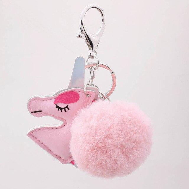 Unicórnio chaveiro bola de pêlo bonito tímido adorável rosa fluffy animal artificial de pele de raposa coelho cabelo para mulher empregada menina presentes presente