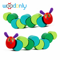 Wooden Toys the Very Hungry Caterpillars Children Anime Toys Wooden Blocks Kids Fingers Flexible Blocks montessori