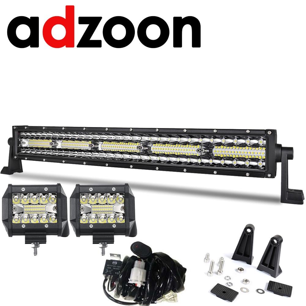 ADZOON 23 pouces Triplr Rangées lumière led hors route Bar 300 W Combo Flood Spot Faisceau 12 V 24 V pour la voiture Camions UAZ ATV Travail barre lumineuse