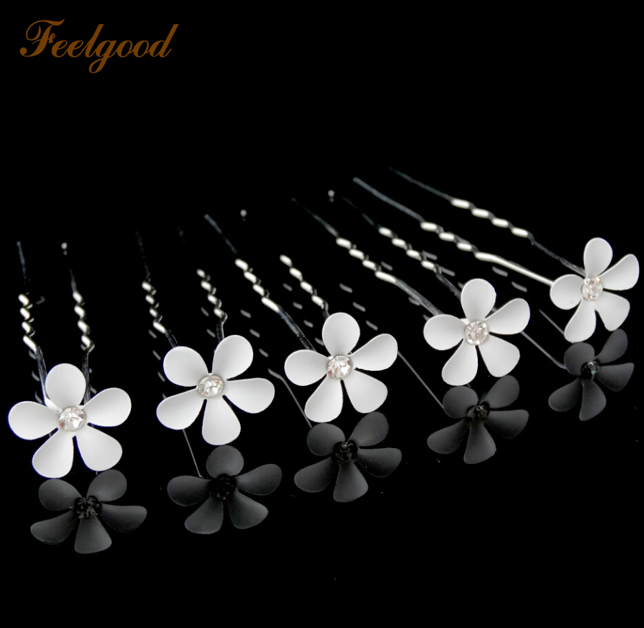 Feelgood 200pcs/lot  Flower Crystal Rhinestone Hair Pin Wedding Jewelry Bridal Hair Accessories