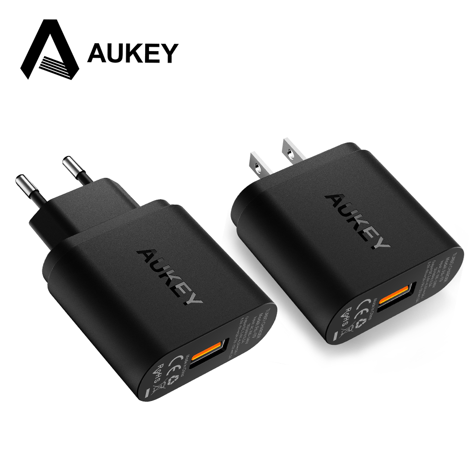 AUKEY Quick Charge QC 3.0 USB Phone Charger Travel Fast Wall USB Charger QC2.0 Compatible Free 1m Fast Cable for Xiaomi Samsung Mobile Phone Chargers     - title=