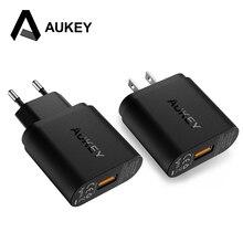 AUKEY Quick Lading QC 3.0 USB Telefoon Oplader Reizen Snel Muur USB Charger QC2.0 Compatibel Gratis 1 m Snelle Kabel voor Xiaomi Samsung