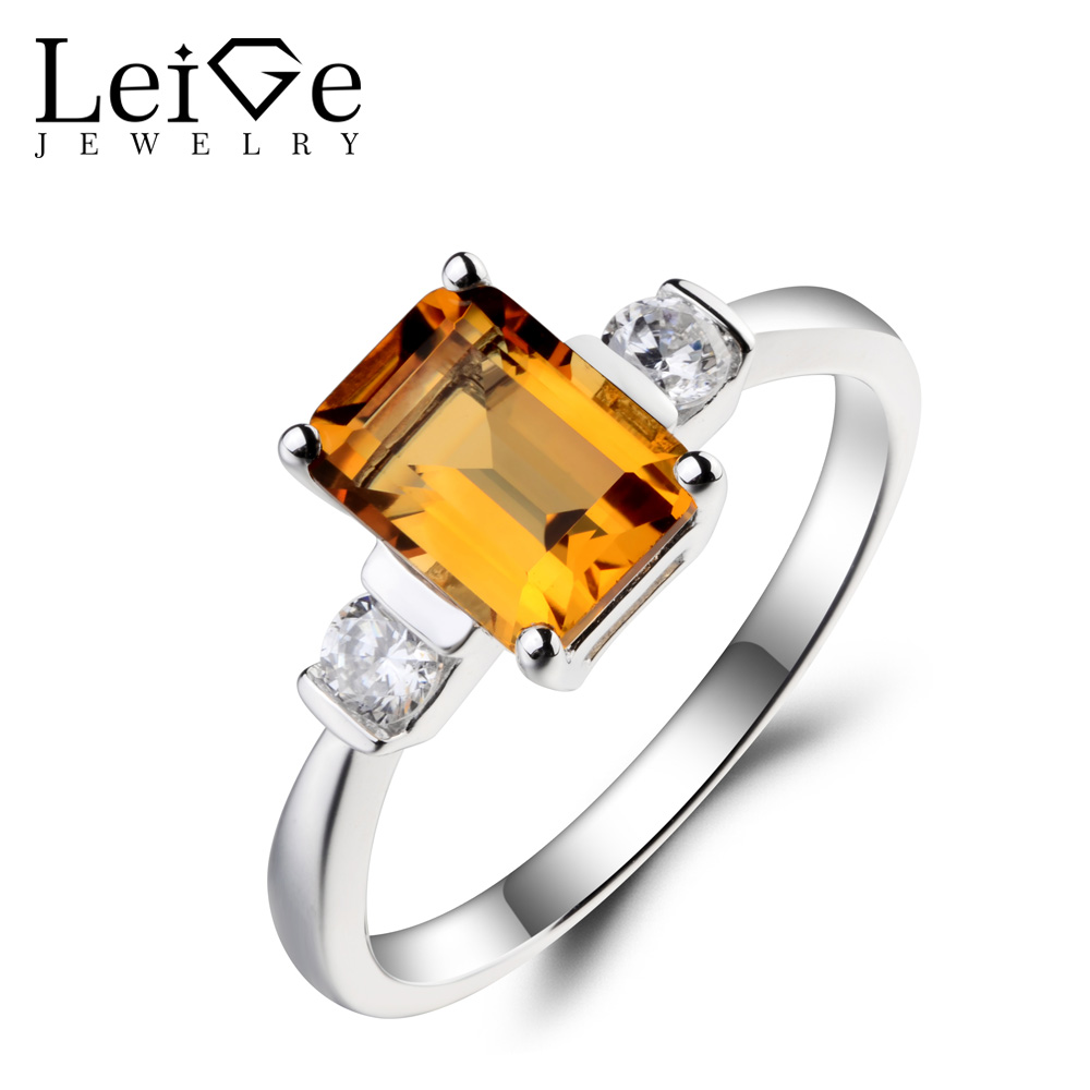Leige Jewelry Natural Citrine Ring Citrine Proposal Ring Emerald Cut Yellow Gemstone Solid 925 Sterling Silver Gifts for Women топ женский insight citrine yellow