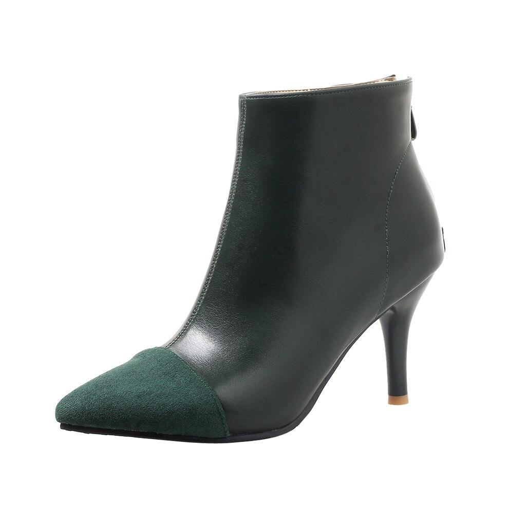 Mujer Cremallera Tacón verde Botas Mujeres Negro Las Damas Zapatillas Los De Bulbo Alta amarillo Vintage Diseñador Señaló Zapatos foco Costura Calidad TAqCxFCw