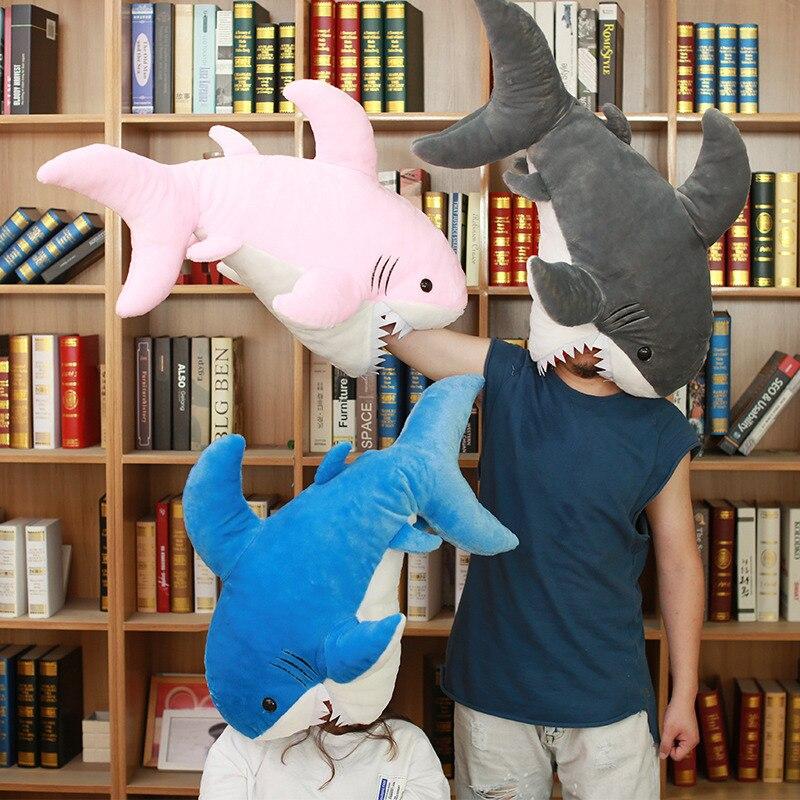 90 cm grande taille drôle doux morsure requin en peluche oreiller coussin cadeau pour les enfants