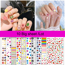 10Pcsx1Bag 3D Self-Adhesive Nail Decals With Smiley Face and Cute Five-Petal Flowers DIY Polish Stickers For Art Decor